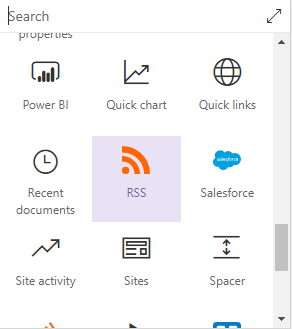 SharePoint Online RSS feed web part - Microsoft Office 365