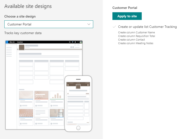 acb047a72f View and Apply Site Design Templates from within SharePoint Online